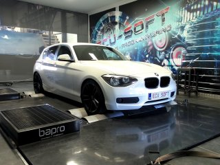 Maatwerk Chiptuning BMW 116i 2014 ori 136 pk en 220 Nm mod 221,3 en 323 Nm